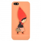 Little Girl Style Protective Plastic + Wood Back Case for Iphone 5 - Nude Pink