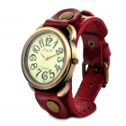 JINGYI PU Leather Band Analog Quartz Wrist Watch for Women - Wine Red + Bronze