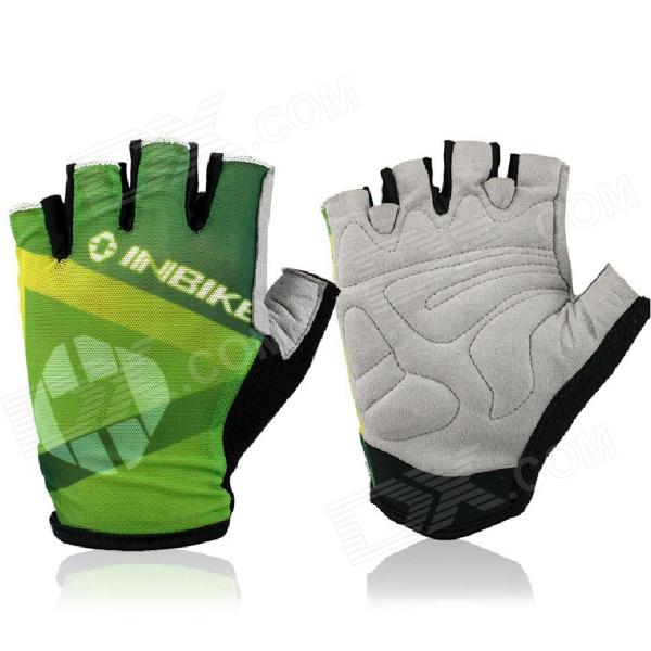 INBIKE HH-89 Outdoor Cycling Riding Half Finger Gloves w/ Protective Pad - Black + Green (Pair XL) стоимость