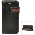 Stylish Protective PU Leather Case w/ Card Holder Slot for Iphone 5 - Black + Brown