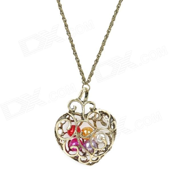 Retro Skeleton Heart Style Pendant Necklace - Copper