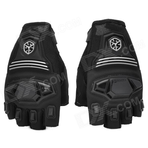 SCOYCO MC24D Half-finger Motorcycle Bicycle Riding Gloves - Black (L / Pair)