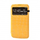 Stylish Crocodile Pattern Flip-open Protective PU Leather Case for Samsung i9200 - Yellow