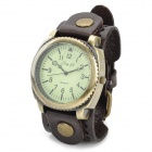 JINGYI  Fashion Round Dial PU Band Quartz Wrist Watch for Women - Bronze + Bronw (1 x LR626)