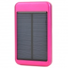 Solar Powered 5000mAh External Battery Charger Power Bank w/ 4-in-1 Charging Cable - Deep Pink