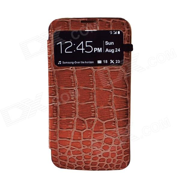 Stylish Crocodile Pattern Flip-open Protective PU Leather Case for Samsung i9200 - Brown