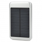 Solar Powered 5000mAh External Battery Charger Power Bank w/ 4-in-1 Charging Cable - Silver + Black