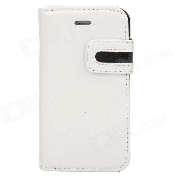 Stylish Protective PU Leather Case w/ Card Holder Slot for Iphone 4 - White + Black stylish protective pu leather case w card holder slot for iphone 5 deep pink