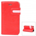 Stylish Protective PU Leather Case w/ Card Holder Slot for iPhone 4 - Red + Pink