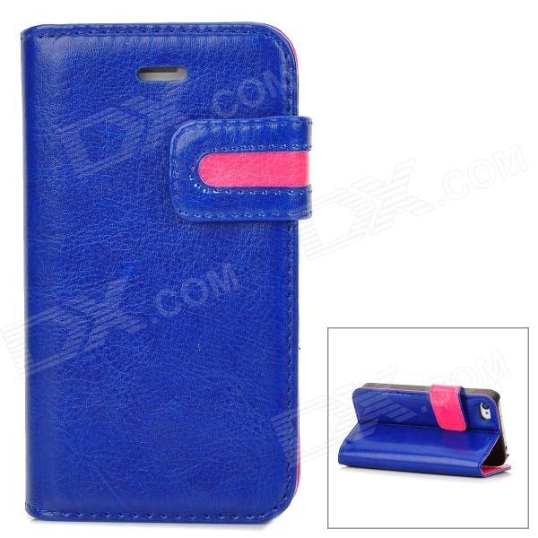 Stylish Protective PU Leather Case w/ Card Holder Slot for Iphone 4 - Blue + Deep Pink stylish protective pu leather case w card holder slot for iphone 5 deep pink