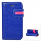 Stylish Protective PU Leather Case w/ Card Holder Slot for iPhone 4 - Blue + Deep Pink