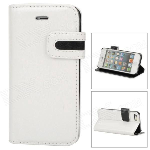 Stylish Protective PU Leather Case w/ Card Holder Slot for Iphone 5 - White + Black stylish protective pu leather case w card holder slot for iphone 5 deep pink