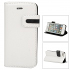 Stylish Protective PU Leather Case w/ Card Holder Slot for Iphone 5 - White + Black