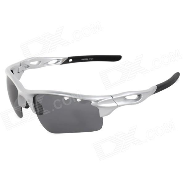 CARSHIRO 7121 UV400 Protection Outdoor Cycling Polarized Goggles - Silver + Black