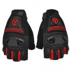SCOYCO MC24D Half-finger Motorcycle Bicycle Riding Gloves - Black + Red (Pair / L)