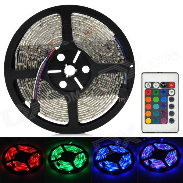 Waterproof 300-3528 SMD LED RGB Flexible Strip w/ 24-Key Controller (12V 5m) waterproof 300 3528 smd led rgb flexible strip w 24 key controller 12v 5m