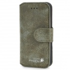 Golden Phoenix Retro Style Flip-Open Matte PU Leather Case for Iphone 5 - Green