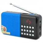 A109 TF / USB Flash Drive MP3 Player Bass Speaker w/ FM - Blue + Black + Silver (32GB Max.)