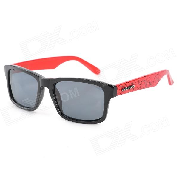CARSHIRO 66108-C01 Retro Style UV400 Protection Resin Lens Polarized Sunglasses - Black + Red carshiro 9150 uv400 protection resin lens polarized night vision driving glasses
