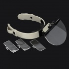 MG81003 Acrylic + ABS + Resin Headband Magnifier w/ LED Light + Replaceable Lenses - Black + Grey