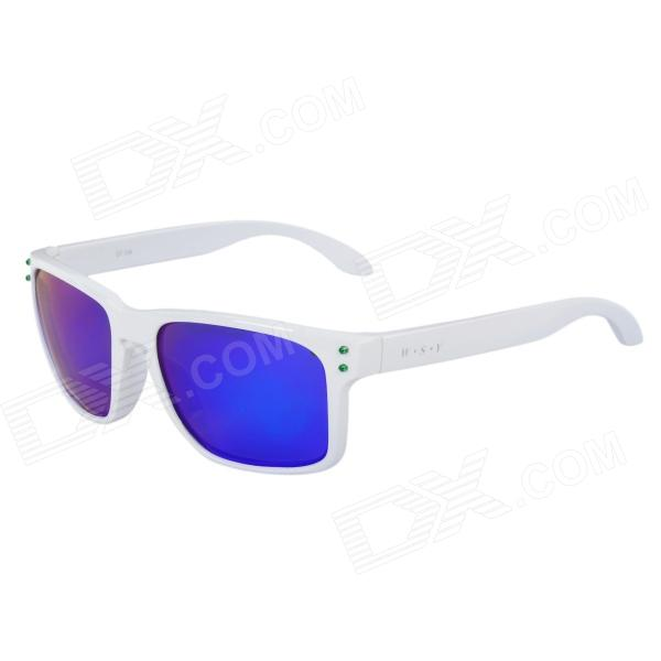 CARSHIRO GF336 Fashion UV400 Protection Revo Blue Lens Polarized Sunglasses - White carshiro 9150 uv400 protection resin lens polarized night vision driving glasses