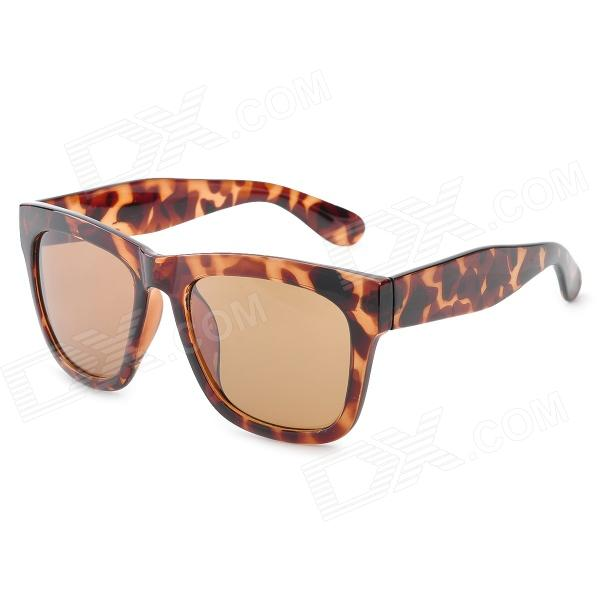 CARSHIRO AM964 Fashion Leopard Pattern UV400 Protection Resin Lens Sunglasses - Brown carshiro 77267 fashion retro style uv400 protection grey resin lens sunglasses white purple