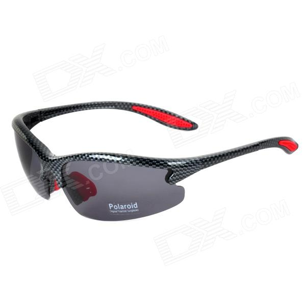 CARSHIRO XQ-029 UV400 Protection Anti-Dust Outdoor Cycling Polarized Sunglasses - Black + Red obaolay frameless polarized cycling sunglasses uv protection anti glare outdoor sport mountain bike glasses oculos ropa ciclismo