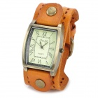 JINGYI Fashion Retangle Shape Dial Quartz Wrist Watch for Women - Orange + Bronze (1 x LR626)
