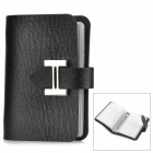 5566 Elegant PU Leather Business Bank Card Holder Case - Black