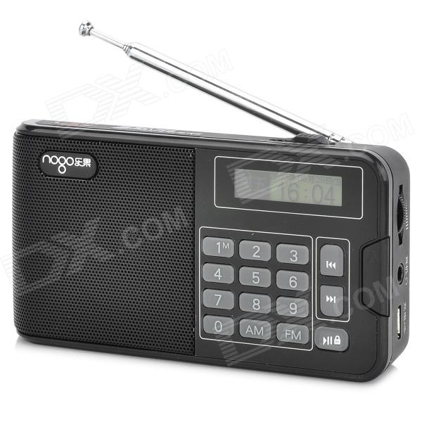 NOGO R808 1.2 Screen TF Card Music Player / FM & AM Radio w/ Speaker - Black + Gray (32GB Max.) t050 3w mini portable retractable stereo speaker w tf black golden 16gb max