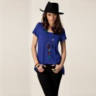 Fashionable Summer Casual Crew Neck Swallow-tailed Loose Tees for Women - Blue (Free Size)