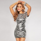Fashionable Sexy Short-Sleeve Open Back Sequin Dress for Women - Silver (Free Size)