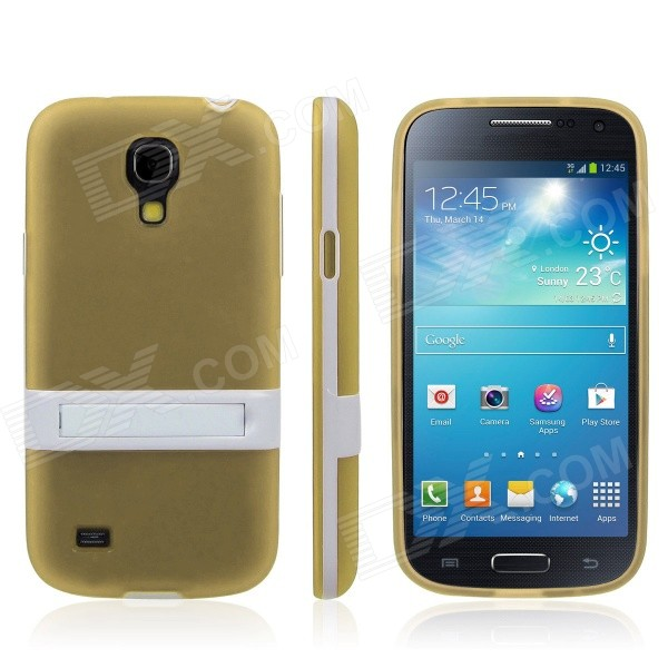 ENKAY Protective Soft TPU Back Case w/ Stand for Samsung Galaxy S4 Mini / i9190 - Yellow