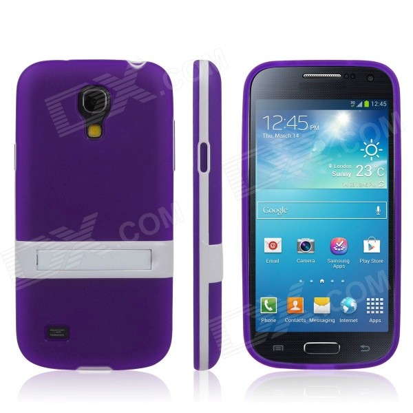 ENKAY Protective Soft TPU Back Case w/ Stand for Samsung Galaxy S4 Mini / i9190 - Purple