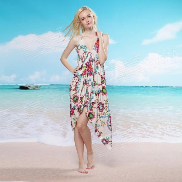 Women's Sexy Deep V-Neck Flower Print Beach Cover-up - Multicolored (Free Size)