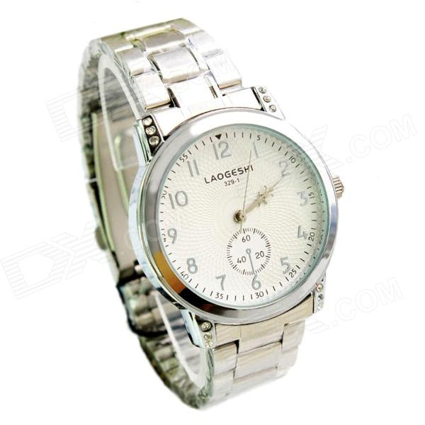 LAOGESHI Stainless Steel Band Quartz Analog Watch for Men - Silver + White (1 x SR626SW) кальян 45см уп 1 18шт