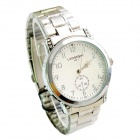 LAOGESHI Stainless Steel Band Quartz Analog Watch for Men - Silver + White (1 x SR626SW)