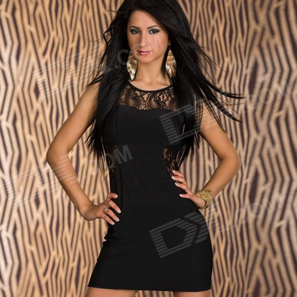 Fashionable Glam Lace Insert Mini Dress for Women - Black (Free Size)