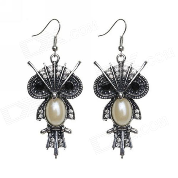 eQute EPEW9C1 Vintage Owl Pearl Body Earrings - Antique Silver + Ivory + Black (Pair) equte epew22h1 fashionable vintage turquoise dangle earrings green silver pair