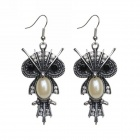 eQute EPEW9C1 Vintage Owl Pearl Body Earrings - Antique Silver + Ivory + Black (Pair)