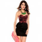 Fashionable Sexy Sequin Top Peplum Dress for Women - Red + Black (Size-L)