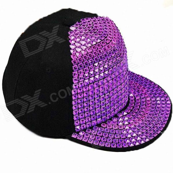 Punk Style Canvas Hip-Hop Street Cap Hat - Purple + Black