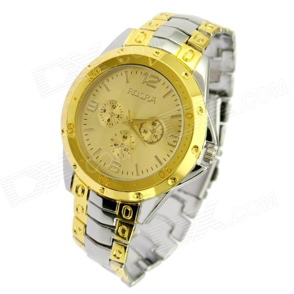 Stylish Steel Alloy Band Quartz Analog Wrist Watch for Men - Silver + Golden (1 x SR626SW) stylish bracelet band quartz wrist watch golden silver 1 x 377
