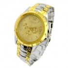 Stylish Steel Alloy Band Quartz Analog Wrist Watch for Men - Silver + Golden (1 x SR626SW)