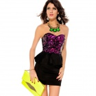Fashion Sexy Sequin Top Peplum Dress for Women - Rosy + Black (Size L)