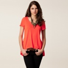 Fashionable Summer Casual Crew Neck Swallow-Tailed Loose Tees for Women - Orange Red (Free Size)