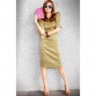 Elegant Fashionable Glitter Fabric Shining Slim Slit Dress - Golden