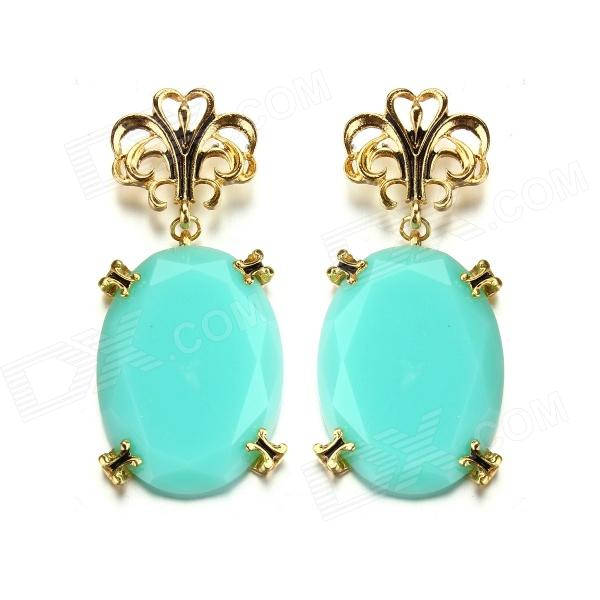 eQute EPEW8C5 Elegant Gold Plated Light Blue Stone Earrings - Blue + Golden (Pair) fashion school backpack women children schoolbag back pack leisure korean ladies knapsack laptop travel bags for teenage girls