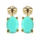 eQute EPEW8C5 Elegant Gold Plated Light Blue Stone Earrings - Blue + Golden (Pair)