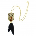 eQute Retro Fashionable Feather Owl Necklace - Golden + Black + Brown